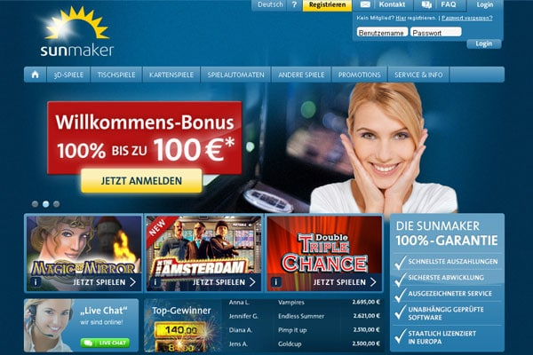 sunmaker online casino cassino games